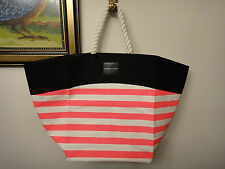 NEW Victorias Secret SWIM Tote 2016 Beach Bag Pink White Stripe Rope Handle Pool