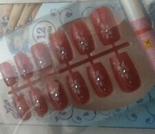 Red False Nails With Designs And Stud. False 12 Artificial Red Nails With Glue
