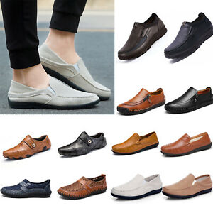 Men Slip On Leather/Canvas Flat Driving Shoes Sneakers Moccasins Casual Loafer