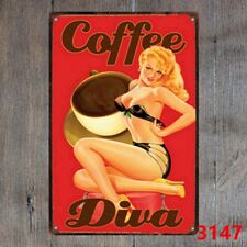 Metal Tin Sign coffee diva sticker Decor Bar Pub Home Vintage Retro
