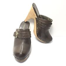 Women's Rampage Brown Studded High Heel Clogs Mules Size 8 M