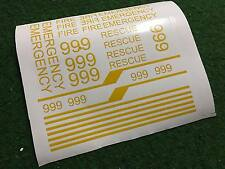 Pegatina Sticker amarillo 999 Fire Emergency Rescue para MOC construiste unicat lego te