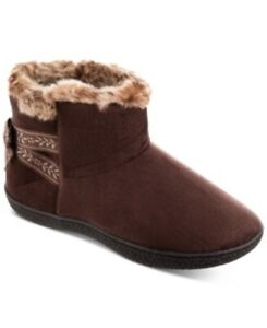 Isotoner Signature Women's Microsuede Addie Boot Slippers With Memory Foam Brown