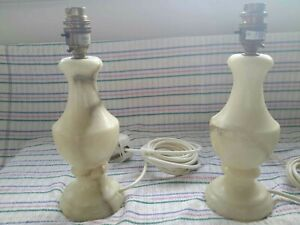 2 LOVELY  ONYX MARBLE TABLE LAMPS  BEEN PAT TESTED