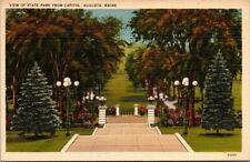 Postcard  View Of State Park From Capitol Augusta Maine