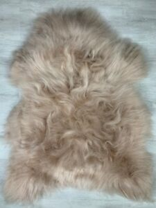 Genuine Icelandic Sheepskin Rug Pelt Seat Cover Pet Bed Throw Dyed Beige