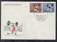 U 01 ) East Germany DDR 1966 World & European Weightlifting Chip  beautiful FDC