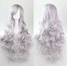 Silver Gray Cosplay Party Costume Full Wig Long Curly Wavy Anime Synthetic Hair