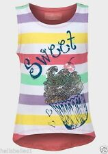 Girls' Scoop Neck Striped Vest T-Shirts & Tops (2-16 Years)