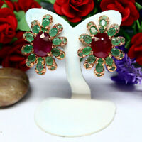 NATURAL 9 X 11 mm. OVAL BLOOD RED RUBY & GREEN EMERALD EARRINGS 925 SILVER