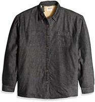 Wrangler Authentics Men's Long Sleeve Sherpa Lined Denim Shirt, Black, Size -1.0