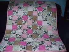 "Handmade Baby Girl Crib Quilt, Zoo Animals & Coordinating Prints, 39.5"" x 46"""