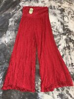 L & B Lucky Blessed Brand Western Boutique Lace Pants SZ Large Red NWT MSRP $42