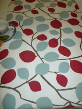 """Long Table Runner Raspbery Red Blue Funky Leaf 100% Cotton 78x 12"""" Lined 6 foot"""