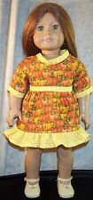"Doll Clothes Girl fits 18"" inch Dress Halloween Pumpkins Yellow"