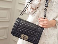 Black Women Quilted Leather Shoulder Messenger Chain handbag black fashion Bag