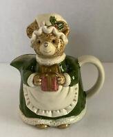"Vintage OTAGIRI, Hand Painted Ceramic Holiday/Christmas Bear Creamer - 5"" Tall"