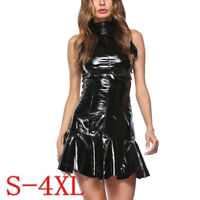 Womens Flared Pleated Wet Look PVC Dress Zip Up Gothic Club Dancewear Lingerie
