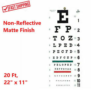 "FULL SIZE Illeterate Snellen 22"" x 11"" Plastic Eye Chart Eye Test Wall, Washable"