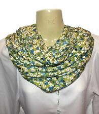 Liberty of London Handmade Jersey Infinity Scarf, Green Mitsi Floral Fabric