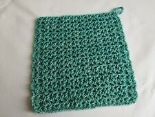 Crochet Face Wash Cloth Flannel Cotton Blend Green Stonewash Ecofriendly Handmad