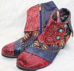Women's Size 9 (41) Multicolor Multi Print Boho Style Boots