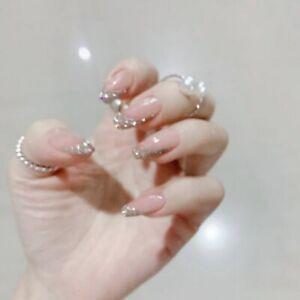 Glitter Pink Full Ballerina Press On Fake Nail Nude False Nails Artificial Tips