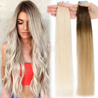 60 pcs Tape In Human Hair Extensions Remy Real Skin Weft Thick 150g Blonde/Ombre