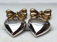 Vintage Ohrhänger 925 Silber große Herzen & Schleifen Teilvergoldet - 80th /A680