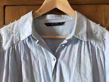 Ladies Zara Pale Blue 100% Cotton Shirt With Pearl Trim ~ Size L