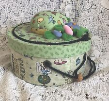 Mary Engelbreit Cloth Covered Round Sewing Box w/ Pin Cushion Flower By Dritz