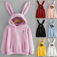 Fashion Women Long Sleeve Cute Rabbit Hoodie Sweatshirt Pullover Tops Blouse HY