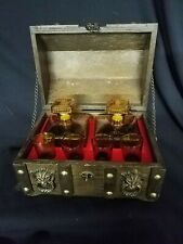 Vintage Wood Treasure Chest Bar Set with 2 Decanters and 4 Shot Glasses Amber Di