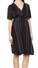 New Look Maternity Womens Megan Spot Stripe Wrap Dress Black & White UK 8 EU 36
