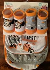 Disney Baby Minnie Mouse First Halloween 0-12m  3 Baby Bibs  2pairs Socks NEW