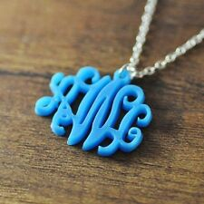 Personalized vine acrylic monogram necklace, custom 3 initials, Christmas gifts