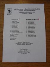 02/12/1993 Aston Villa Reserves v Blackburn Rovers Reserves  (Single Sheet, Scor