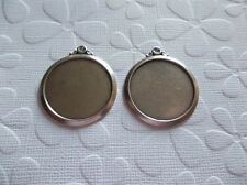 Vintage Style 18mm Round Oxidized Silver Plated Simple & Elegant Settings Qty 2