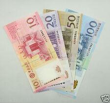 A LOT OF 4 PIECES MACAO MACAU 10 20 50 100 PATACAS BANKNOTES 2008-8-8 UNC