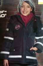 Mädchen Jacke Reflektorjacke Sicherheitsjacke Kapuze Winterjacke 122 - 152 NEU