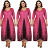 Women Plus Size Half Sleeve V-neck Floral Printed Maxi Splice Casual Long Dress