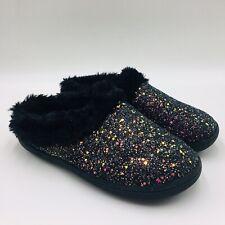 Clarks Women's Novelty Clog Slipper with Faux Fur Trim Size 10M Black Glitter