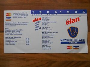 Old Vintage 1984 Milwaukee Brewers Elan Pocket Schedule Unfolded Baseball Sports