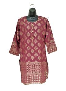 Pakistani Kurta Ladies Indian Kurti Dress Jacquard Banarsi Tunic Top Kameez UK