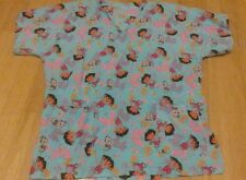 Dora the Explorer! Women medium M blue patterned poly/cotton scrub top