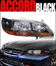 For 1998-2002 Honda Accord Crystal Black Headlights Turn Signal Lamps Amber Dy