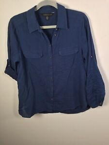 Forever New womens blue button up shirt size 12 long sleeve cotton good condtn
