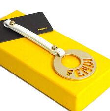 Auth FENDI Key Ring Tassel Charm Gold Tone / White Leather Good in Box Italy