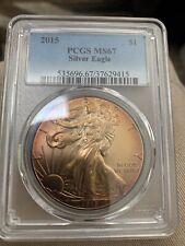 MONSTER TONED BURNT ORANGE PCGS MS67 2015 American Eagle Silver Dollar