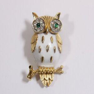 Vintage Signed Crown Trifari Figural Owl Bird Rhinestone Enamel Brooch Pin
